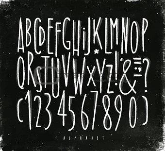 Alphabet straight lines font chalk