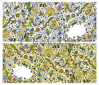 Abstract floral banners with bees, sketch for your design