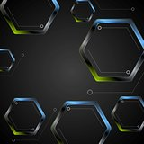 Dark green blue geometric hexagons background