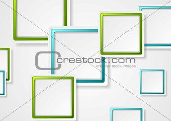 Bright green and blue geometric squares design
