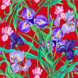Seamless pattern with flowers. Iris. Lily. Vector. Hand drawn. Red background