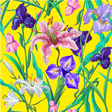 Seamless pattern with flowers. Iris. Lily. Vector. Hand drawn. Bright yellow