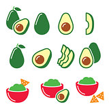 Avocado cut in half, fruit, guacamole with nachos icons set
