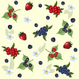 seamless pattern of strawberry, raspberry, blueberry