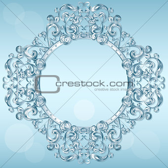 carved frame of ice for picture or photo