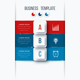 Infographics template 3 options with square