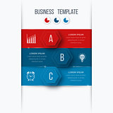 Infographics template 3 options with hexagon