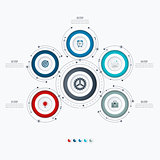 Infographics template 5 options with circle