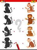 match shadows game with monkeys