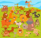 cartoon cute dogs group