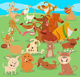 cartoon happy dogs group