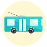 Cute little flat trolley bus icon