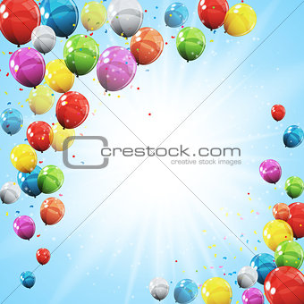 Group of Colour Glossy Helium Balloons Isolated on Sky Natural B