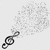 Set of musical notes with treble clef on transparent background.