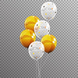 Group of Colour Glossy Helium Balloons Isolated on Transparent B