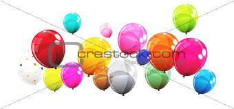 Group of Colour Glossy Helium Balloons Isolated on White Backgro