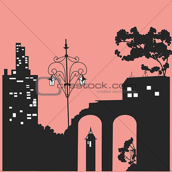 Black silhouettes of houses and trees. Vector illustration.