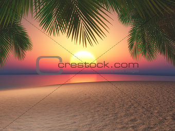 3D beach and palm trees against a sunset sky