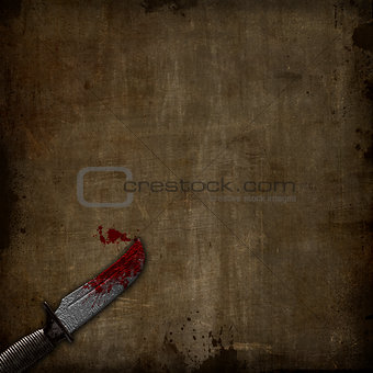 3D bloody dagger on a grunge background