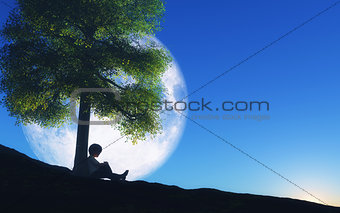 3D boy sat against a tree with moon in night sky