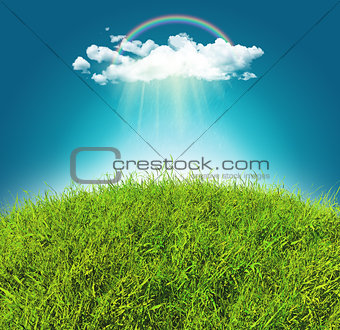 3D grassy landscape with a rainbow and rain cloud