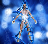 3D medical background with male figure and DNA strands