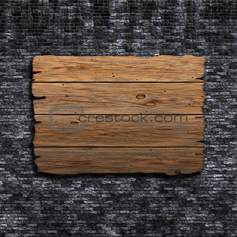 3D old wooden sign against a grunge brick wall