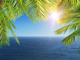 3D Palm tree leaves looking out to the ocean