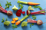 Fresh vegetables, carrots, beets and broccoli