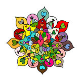 Mandala ornament, colorful pattern for your design
