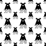 seamless pattern with abstract dog as symbol 2018 year. vector