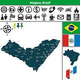 Map of Alagoas, Brazil