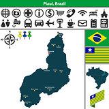 Map of Piaui, Brazil