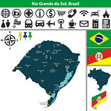 Map of Rio Grande do Sul, Brazil