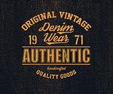 Original vintage Denim print for t-shirt.