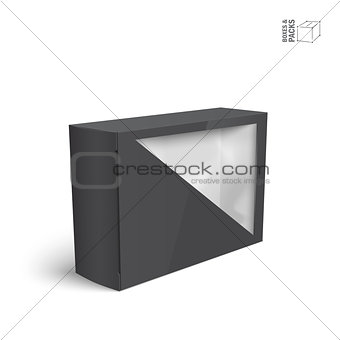 Black vector product package box with window