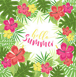 Background with tropical flowers