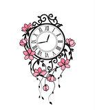 Sakura flowers and clock