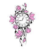 Magnolia flowers and clock