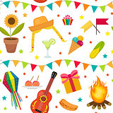 Festa Junina seamless pattern. Brazilian Latin American festival endless background. Repeating texture with traditional symbols. Vector illustration.