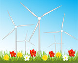 Wind generators on glade