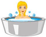 Girl bathes in basin