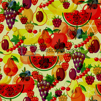Flat fruits seamless pattern. Vector flat Illustrations of watermelon, banana, cherry, apple, strawberries, raspberries, blackberries, orange, kiwi fruit, pear for web, print and textile