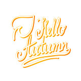 Hello autumn. Inspirational and motivational quotes. Hand painted brush lettering and custom typography for your designs: t-shirts, bags, for posters, invitations, cards, etc.