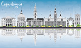 Copenhagen Skyline with Gray Landmarks, Blue Sky and Reflections