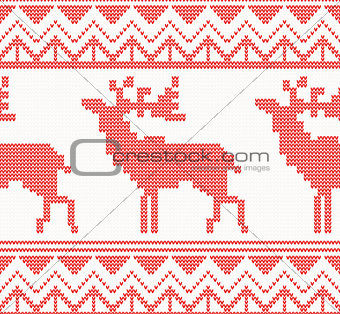 Knitted Deer Seamless Pattern in Red Color.