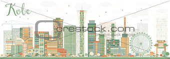 Abstract Kobe Skyline with Color Buildings.