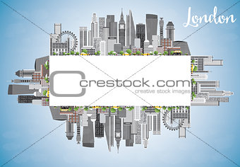 London Skyline with Gray Buildings, Blue Sky and Copy Space.