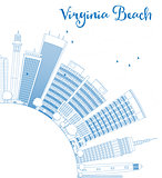 Outline Virginia Beach (Virginia) Skyline with Blue Buildings.
