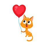 Cute and funny cat, kitten holding red heart shaped balloon
